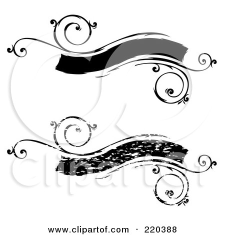Royalty-Free (RF) Clipart Illustration of a Digital Collage Of Black Floral Distressed Banners by BestVector