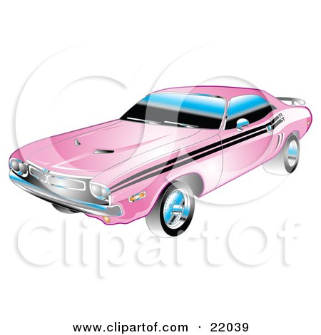 Clipart Illustration of a 1971 Dodge Challenger Muscle Car In Pink With Black Racing Stripes On The Sides by Andy Nortnik