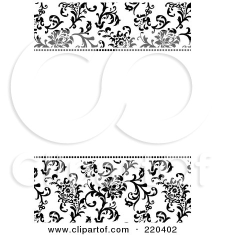 Royalty-Free (RF) Clipart Illustration of a Formal Black And White Floral Invitation Border With Copyspace - 27 by BestVector