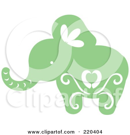 Royalty-Free (RF) Clipart Illustration of a Green Elephant With White Designs by Cherie Reve