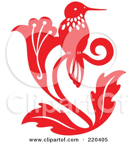 Royalty-Free (RF) Clipart Illustration of a Red Hummingbird With White Designs Sitting On A Flower by Cherie Reve