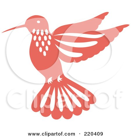 Royalty-Free (RF) Clipart Illustration of a Pink Hummingbird With White Designs by Cherie Reve