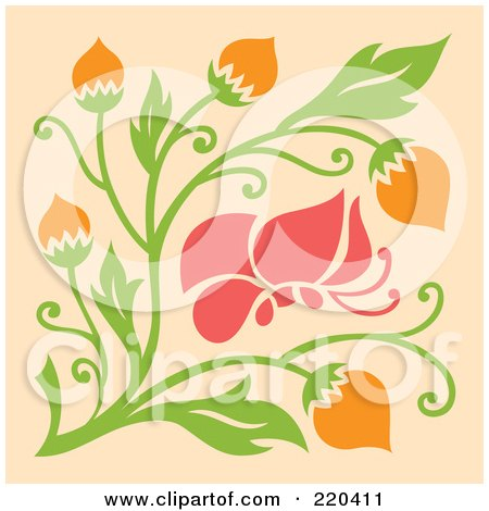 Royalty-Free (RF) Clipart Illustration of an Abstract Pink Butterfly With Orange Flowers On Pastel Orange by Cherie Reve