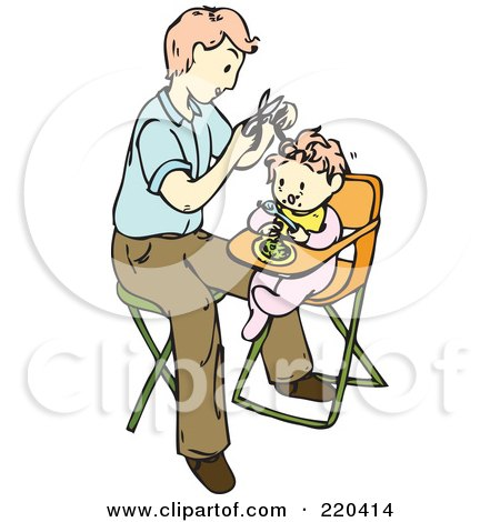 Royalty-Free (RF) Clipart Illustration of a Father Giving His Baby Her First Hair Cut by Cherie Reve