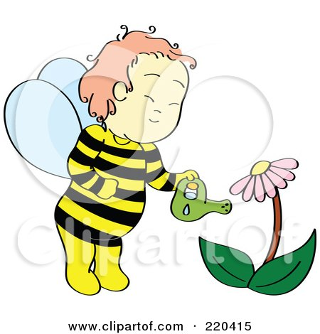 Royalty-Free (RF) Clipart Illustration of a Happy Bee Boy Watering A Coneflower Plant by Cherie Reve