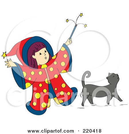 Royalty-Free (RF) Clipart Illustration of a Little Wizard Girl Holding Up Her Magic Wand Over Her Gray Cat by Cherie Reve
