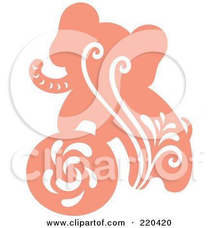 Royalty-Free (RF) Clipart Illustration of a Pink Elephant And Ball With White Designs by Cherie Reve