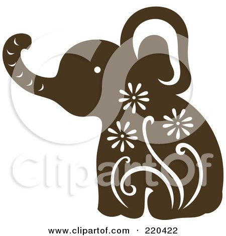 Royalty-Free (RF) Clipart Illustration of a Brown Elephant With White Designs by Cherie Reve