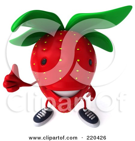 Royalty-Free (RF) Clipart Illustration of a 3d Strawberry Facing Front And Holding A Thumb Up by Julos