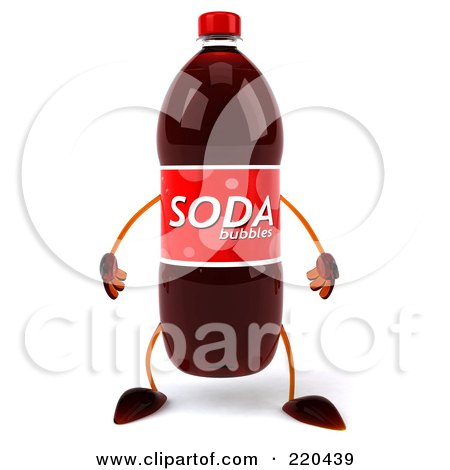 Royalty-Free (RF) Clipart Illustration of a 3d Soda Bottle Facing Front by Julos