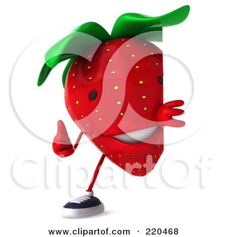 Royalty-Free (RF) Clipart Illustration of a 3d Strawberry Holding A Thumbs Up Around A Blank Sign by Julos