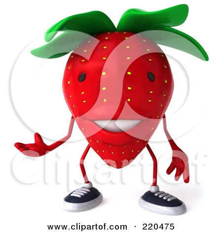 Royalty-Free (RF) Clipart Illustration of a 3d Strawberry Facing Front And Gesturing by Julos