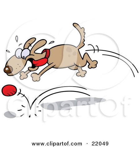 Clipart Illustration of a High Strung Brown Dog With His Tongue Flying In The Breeze, Chasing After A Bouncing Ball by gnurf