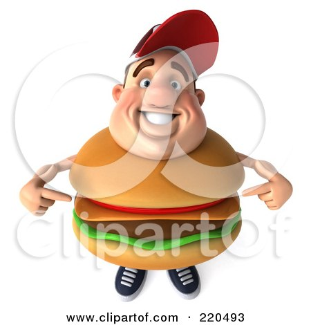 Royalty-Free (RF) Clipart Illustration of a 3d Burger Body Man Facing Front And Pointing At Himself by Julos