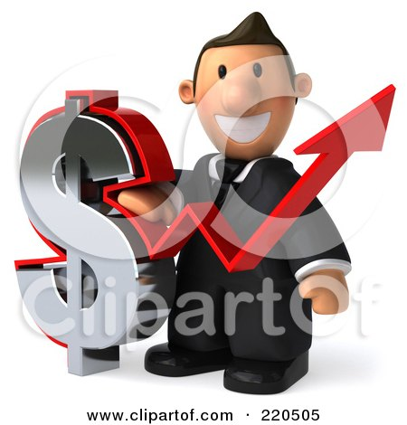 Royalty-Free (RF) Clipart Illustration of a 3d Business Toon Guy With A Dollar Symbol And Arrow - 1 by Julos