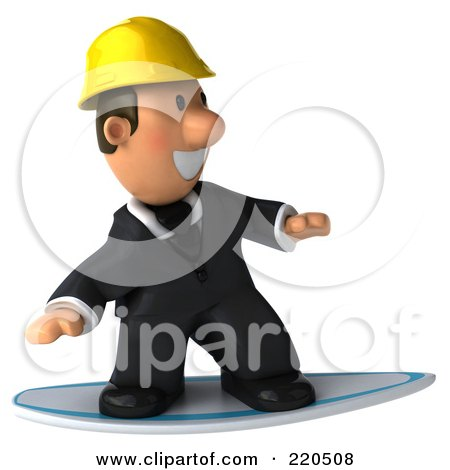 Royalty-Free (RF) Clipart Illustration of a 3d Male Architect Surfing On A Board by Julos