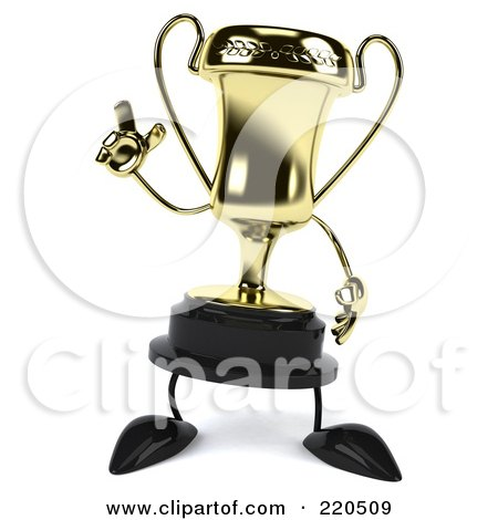 Royalty-Free (RF) Clipart Illustration of a 3d Gold Trophy Character Facing Front And Gesturing by Julos