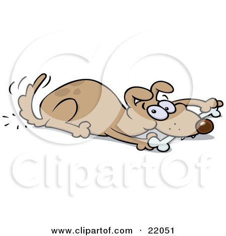 Clipart Illustration of a Playful Brown Dog Wagging His Tail And Chewing On A Bone While Laying Down by gnurf