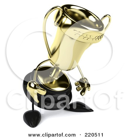 Royalty-Free (RF) Clipart Illustration of a 3d Gold Trophy Character Facing Right And Pouting by Julos