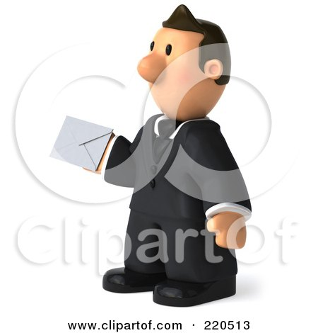 Royalty-Free (RF) Clipart Illustration of a 3d Business Toon Guy Facing Left And Holding An Envelope by Julos