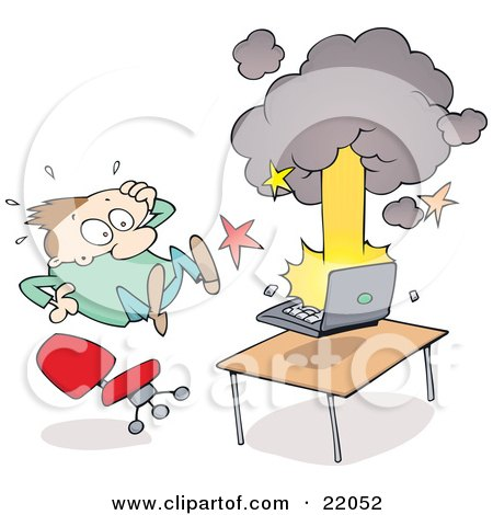 Clipart Illustration of a Surprised Man Leaping Back From His Exploding And Smoking Laptop Computer by gnurf