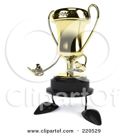 Royalty-Free (RF) Clipart Illustration of a 3d Gold Trophy Character Facing Left And Gesturing by Julos
