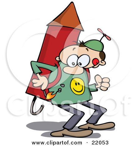 Clipart Illustration of a Determined Man In A Propeller Hat, Holding A Lit Match To The Fuse Of The Rocket Strapped On His Back by gnurf