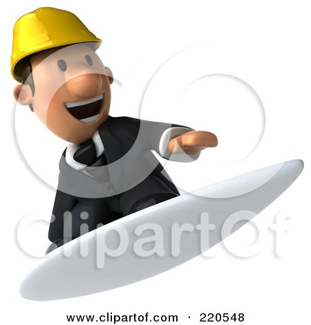 Royalty-Free (RF) Clipart Illustration of a 3d Male Architect Surfing by Julos