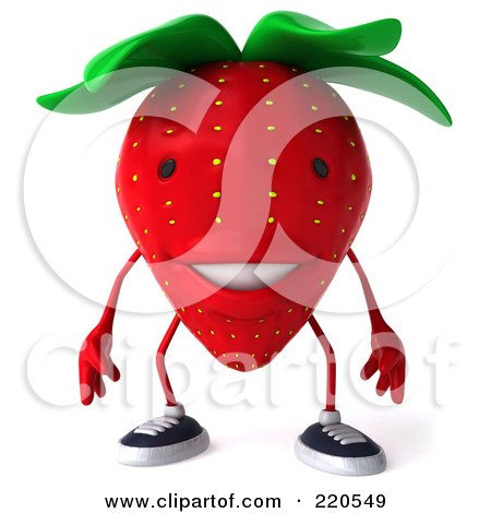 Royalty-Free (RF) Clipart Illustration of a 3d Strawberry Facing Front by Julos