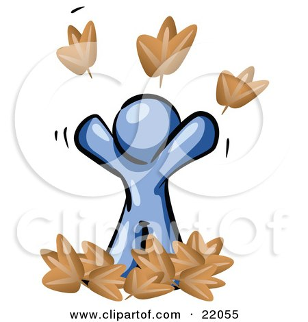 Clipart Picture Illustration of a Carefree Blue Man Tossing Up Autumn Leaves In The Air, Symbolizing Happiness And Freedom by Leo Blanchette