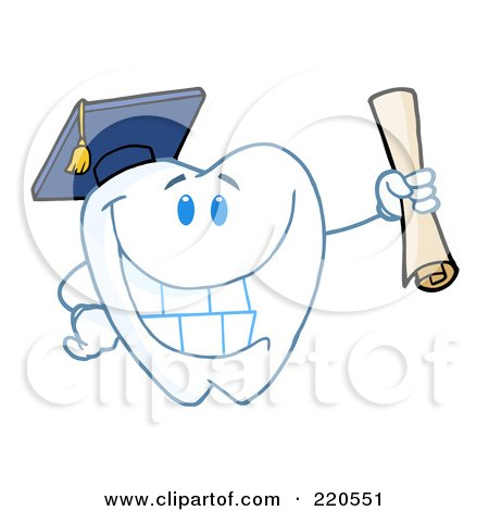 Royalty-Free (RF) Clipart Illustration of a Tooth Character Graduate Holding A Diploma by Hit Toon