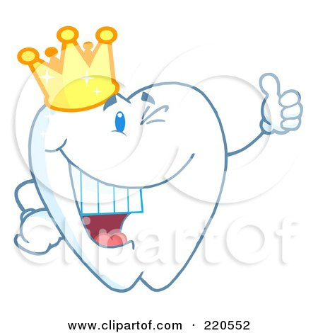 Royalty-Free (RF) Clipart Illustration of a Tooth Character Wearing A Crown And Giving The Thumbs Up by Hit Toon