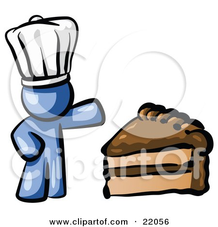 Clipart Picture Illustration of a Blue Chef Man Wearing A White Hat And Presenting A Tasty Slice Of Chocolate Frosted Cake by Leo Blanchette