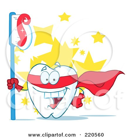 Royalty-Free (RF) Clipart Illustration of a Tooth Character Superhero With A Tooth Brush And Paste Over Stars by Hit Toon