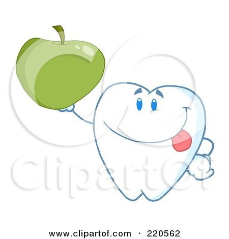 Royalty-Free (RF) Clipart Illustration of a Tooth Character Smiling And Holding Up A Green Apple by Hit Toon