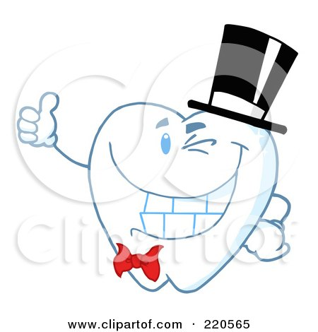 Royalty-Free (RF) Clipart Illustration of a Tooth Character Gentleman Wearing A Top Hat And Holding A Thumb Up by Hit Toon