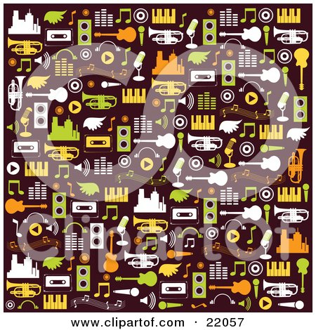 Clipart Illustration Picture of a Brown Background With White, Green, Orange And Yellow City Buildings, Wings, Cassette Tapes, Speakers, Music Notes, Guitars, Pianos And Trumpets by OnFocusMedia