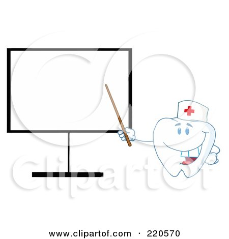 Royalty-Free (RF) Clipart Illustration of a Tooth Character Pointing To A Blank Board by Hit Toon