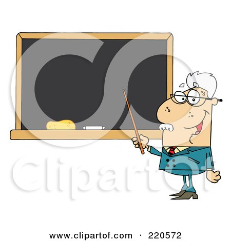 Royalty-Free (RF) Clipart Illustration of a Senior Male Professor Pointing To A Chalk Board by Hit Toon