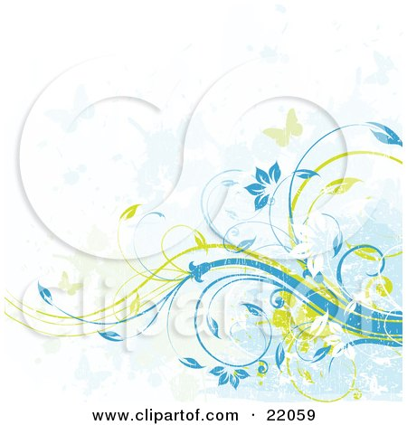 Clipart Illustration Picture of a Web Site Background Of Green And Blue Butterflies Flying Over Yellow And Blue Floral Vines With Grunge Texture by OnFocusMedia