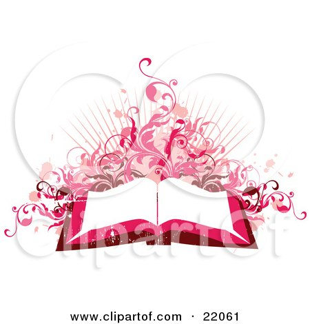 Clipart Illustration Picture of a Pink And Red Toned Background Of An Open Book With White Pages With Pink Paint Splatters, Vines And Bursts On White by OnFocusMedia