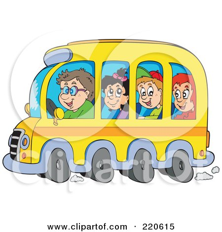 Group Of Happy School Children And Driver On A Bus Posters, Art Prints