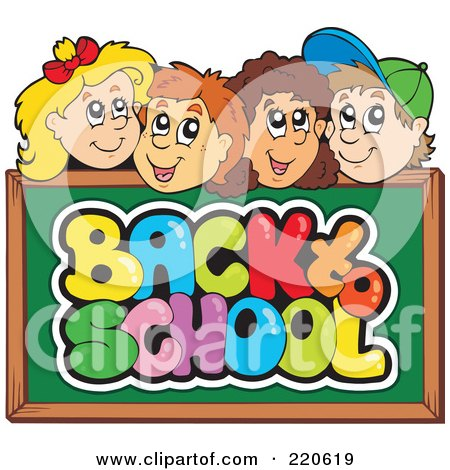 Royalty-free clipart picture of a row of happy school children faces over a