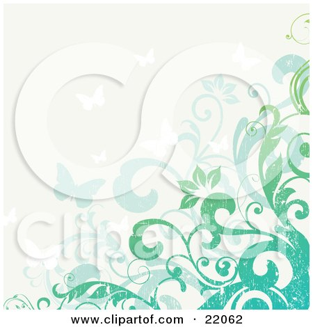 Clipart Illustration Picture of a Web Site Background Of Blue And Green Flowering Vines And Butterflies With Grunge Texture by OnFocusMedia