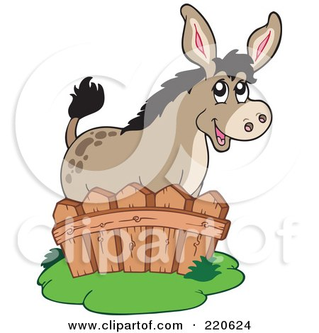 Royalty-Free (RF) Clipart Illustration of a Cute Donkey Standing Behind A Fence by visekart