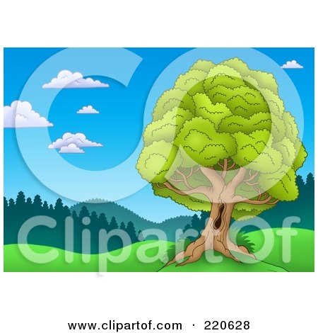 Royalty-Free (RF) Clipart Illustration of a Nature Landscape With A Mature Lush Tree With A Hole In The Trunk by visekart