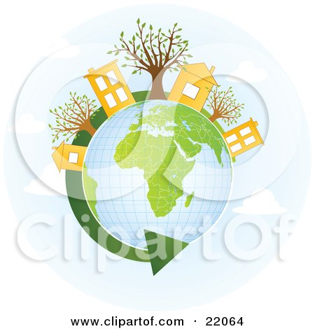 Yellow Homes And Buildings With Trees On Top Of A Globe With Green Continents, A Green Renewable Energy Arrow Circling The Planet Posters, Art Prints