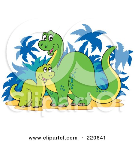 Royalty-Free (RF) Clipart Illustration of a Baby And Mother Dinosaur Near Palm Trees by visekart