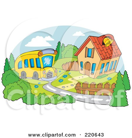 Royalty-Free (RF) Clipart Illustration of a Yellow School Bus Driving Up To A School House With A Bell by visekart