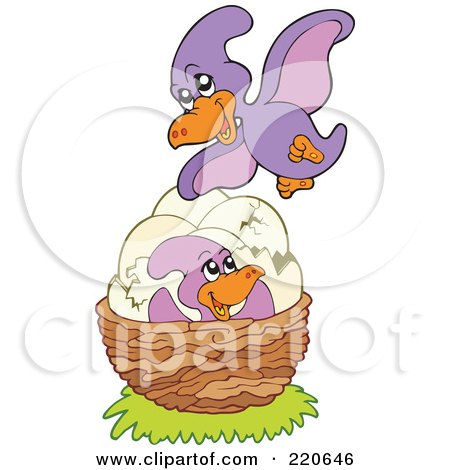 Royalty-Free (RF) Clipart Illustration of a Cute Purple Pterodactyl Flying Over Her Eggs And Baby In A Nest by visekart